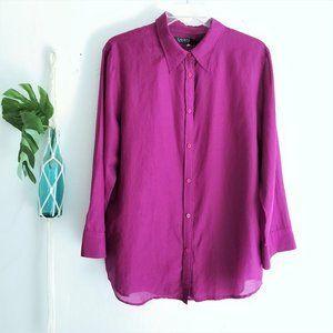 Lauren RL Long Sleeve Silk Cotton Blend Button Up